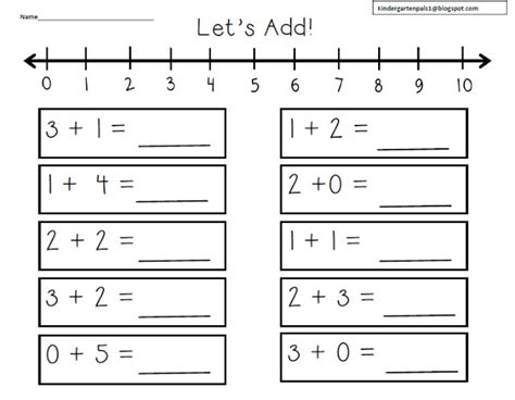 printable number line for kindergarten kindergarten pals