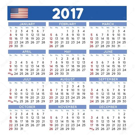 printable calendar english squared 2017 calendario ingl 233 s vector de stock 96566038