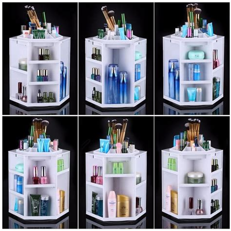 Spin Cosmetic Organizer By L360 White 360 degree rotating makeup organizer cosmetic display brush lipstick storage stand box makeup