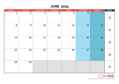 June 2015 Calendar Calendar By Week June 2015 Calendar Template 2016