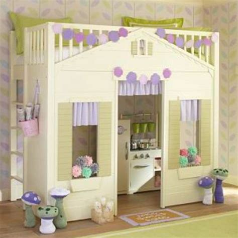 little girl loft bed little girl bunk bed with play cottage potterybarn kids i