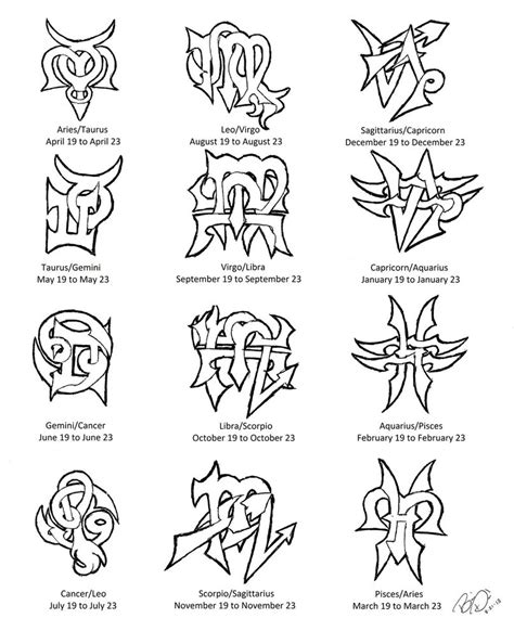 tattoo tribal zodiac designs zodiac cusps tattoo designs by wolfrunner6996 on deviantart