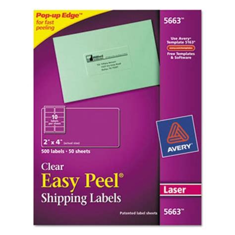 avery 5663 template avery 5663 easy peel mailing labels 2 x 4 clear 500