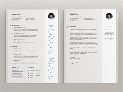modern cv resume template cover letter page