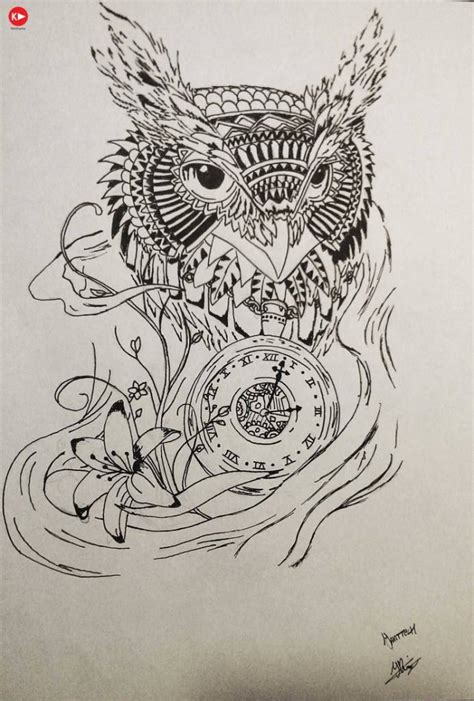 nice sketch of amazing owl and clock tattoo with flower