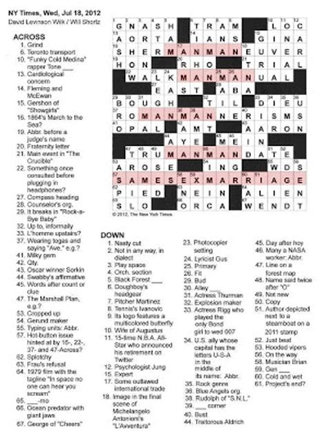 usa today crossword wednesday the new york times crossword in gothic 07 18 12 man to man