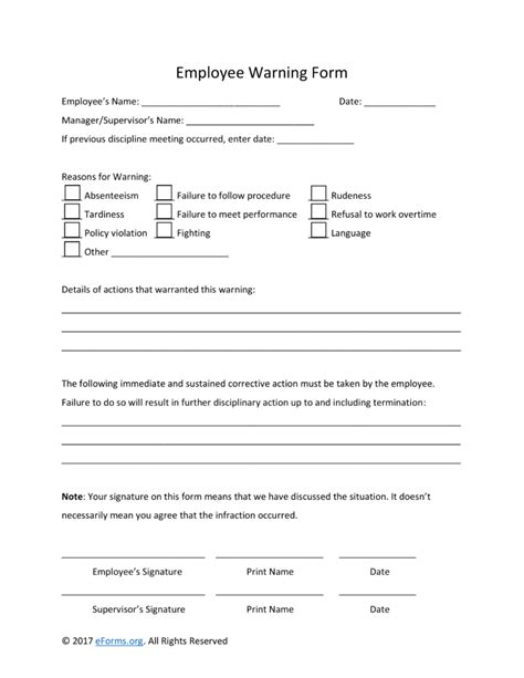 free employee warning notice template word pdf