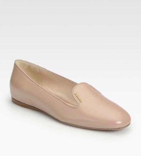 prada slipper prada saffiano leather slippers in beige lyst