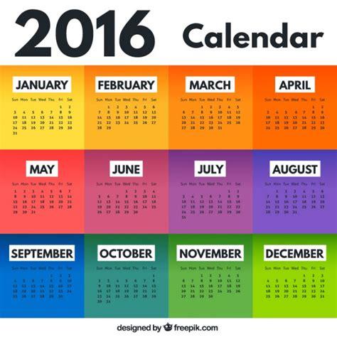Kalender 2016 Kostenlos Bunte Kalender 2016 Der Kostenlosen Vektor