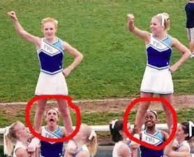 Cheerleaders caught off guard