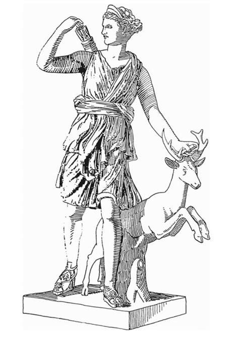 malvorlage artemis goettin aus der griechischen mythologie