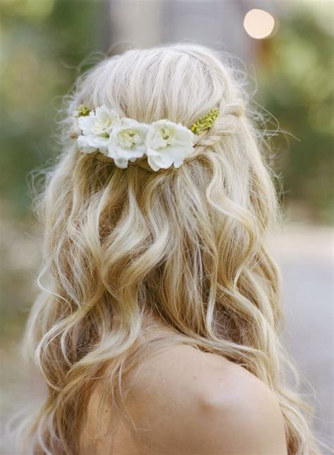 Wedding Hair Half Up Flower by Half Up Braid Wedding Hairstyle Photo