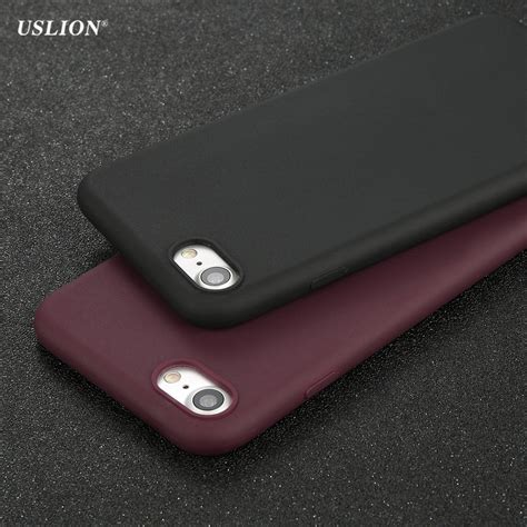 Casing Cover Ultrathin Solid Black Iphone 7 Iphone 7 Plus 1 uslion phone for iphone 7 6 6s plus 5 5s se simple solid color ultrathin soft tpu cases