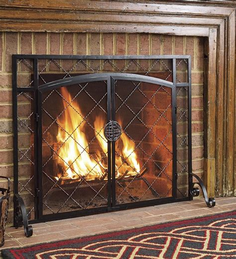 flat steel fireplace chimney place guard firescreen