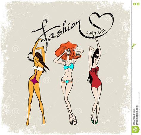ragazze in costume da bagno tre ragazze in costume da bagno alla moda illustrazione