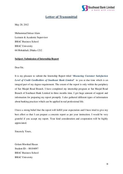 Internship Acceptance Letter From Bank Internship Report On Measuring Customer Satisfaction Level Of Credit