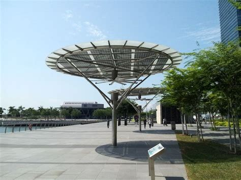 solar powered outdoor ceiling fan breeze shelters in marina bay sands singapore by big