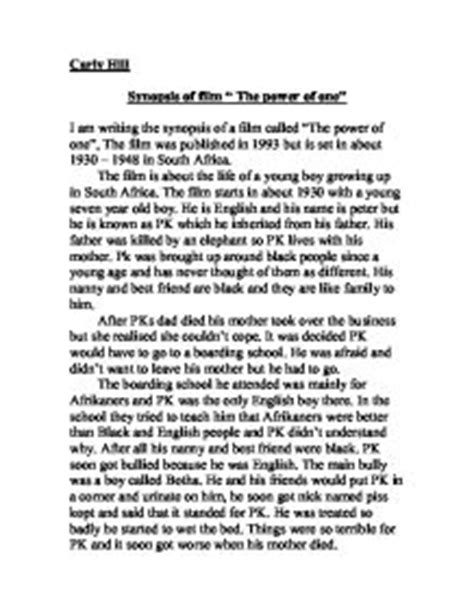 one day film plot summary synopsis of film quot the power of one quot a level english