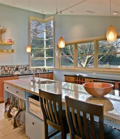 Kitchen Island With Hanging Pot Rack look a low hanging pot rack kitchen inspiration the kitchn