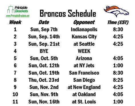 printable broncos schedule broncos schedule denver broncos schedule