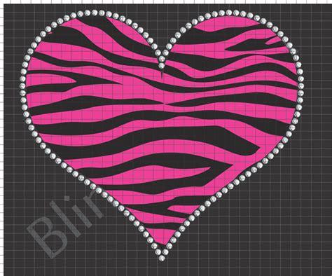 zebra pattern heart zebra heart rhinestone design download pattern file