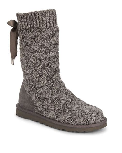 uggs grey knit boots ugg blythe knit boots in gray grey save 36 lyst