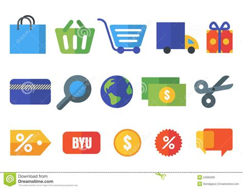 vector flat customer office concept set of vector flat shopping icons design concept for sho stock vector image 54562081