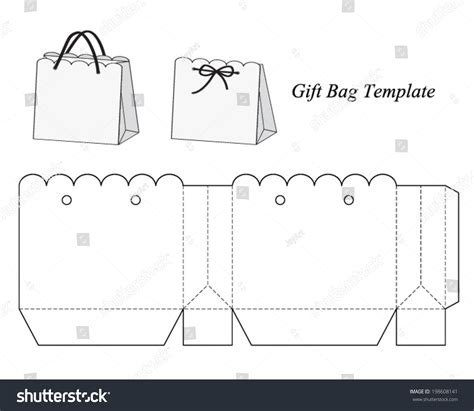 Interesting Gift Bag Template Vector Illustration Stock Vector 198608141 Shutterstock Gift Bag Template
