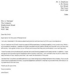 Office Receptionist Cover Letter by Cover Letter For A Receptionist Icover Org Uk