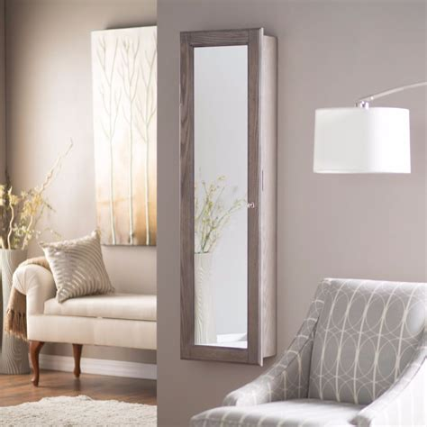 wall jewelry armoire mirror wall mounted jewelry armoire mirror rustic gray large