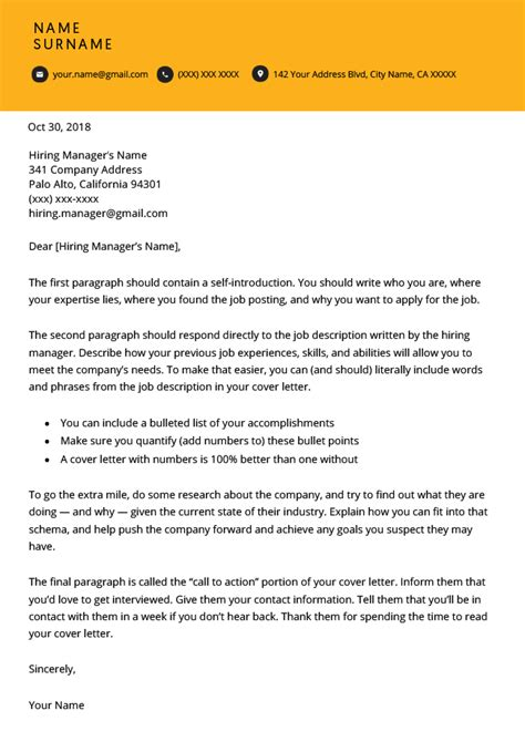 modern cover letter templates resume