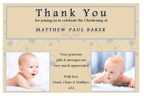 baptism thank you card template free 10 personalised christening baptism thankyou photo cards n193