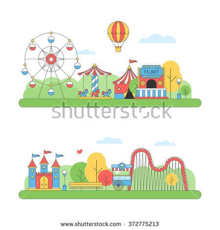 theme park vector carousel stock photos images pictures shutterstock