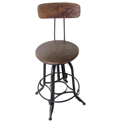 Industrial Bar Stool With Back Architect S Industrial Wood Iron Counter Bar Swivel Stool With Back