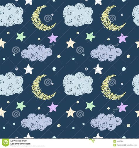seamless pattern template doodle good night seamless pattern background template
