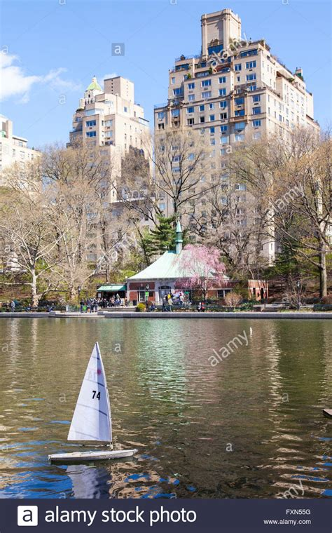 central park boat model conservatory water model boat pond stock photos