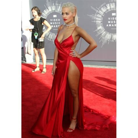 dress rita ora red dress blonde hair tan silk