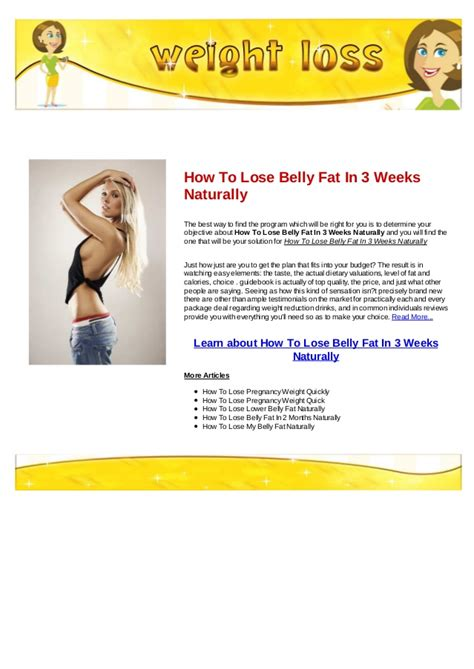 How To Shed Belly by How To Lose In A Week