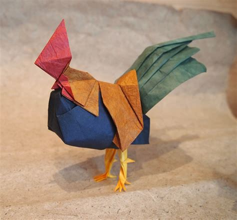 Origami Rooster - 2017 new year origami rooster extravaganza