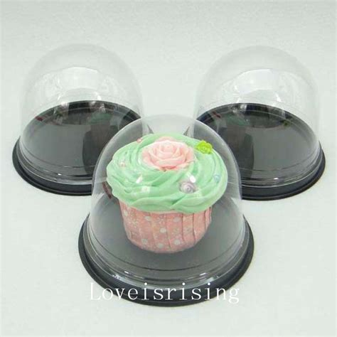 Cake Container 50sets 100pcs clear plastic cupcake packaging box cake