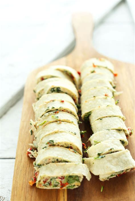 vegan appetizer recipes for a sun dried tomato basil pinwheels minimalist baker recipes