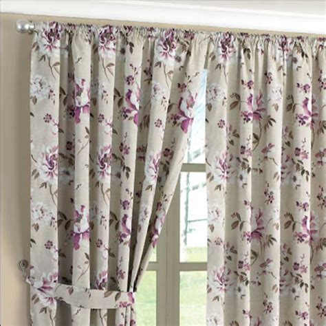 Floral Lined Curtains Floral Print Pencil Pleat Lined Curtains Aubergine 46 X 90 Inch Ebay