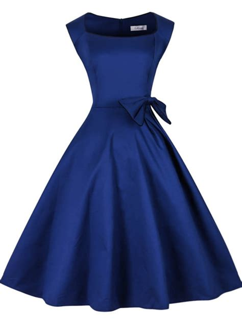 swing chiffon kleid royal blue solid bateau 50s vintage dress with bowknot