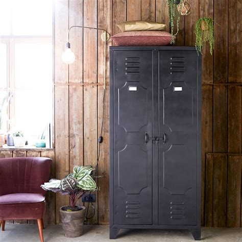 metal armoire metal cupboard range 2 door cupboards tikamoon