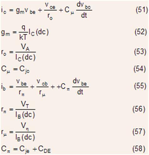 transistor equations bjt part vi circuit models