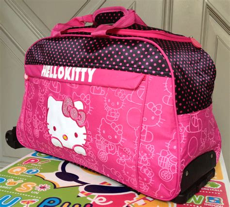 tas anak trolley travel hello polka dot pink