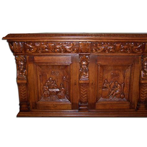monumental carved figural oak executive desk for sale