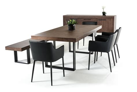 walnut dining bench set modrest lola modern walnut dining table