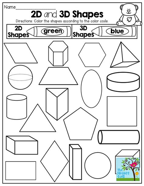 printable 3d shapes games for kindergarten 2 d and 3 d shapes color by the code tons of fun