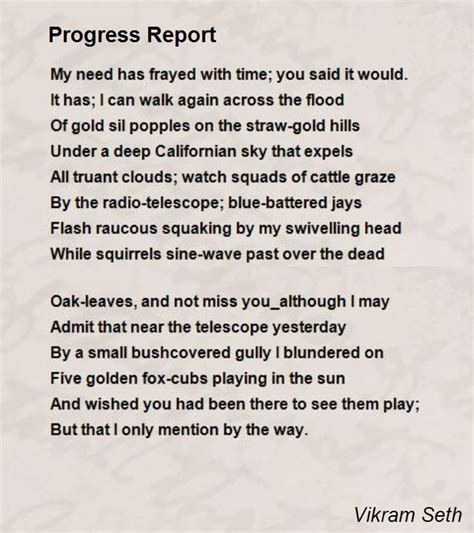 that s not poetry books progress report poem by vikram seth poem comments